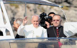 Papa Francesco a Lampedusa.