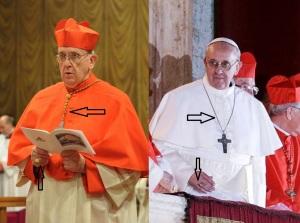 Una piccola grande curiosità. Il 12 marzo (foto a sinistra) il cardinale Jorge Mario Bergoglio indossava l'anello cardinalizio e il cordone pettorale. Il giorno dopo, quando si presentò al mondo come papa Francesco, indossava il suo anello episcopale e la catena del suo pettorale. Perché portarli con sé durante il conclave? Pensava che nella stanza delle lacrime non ve ne fossero?