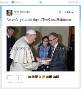 Dr. Ivereigh presents his book to Pope Francis: Friday Nov 21, 2014. Screen shot of a Twitter Page viewing his Twitter Feed Time-Line.