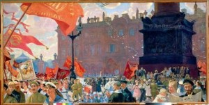 Boris Kustodiev. Festivity for Opening of the 11th Comintern Congress (1920). Russian State Museum, St. Petersburg.