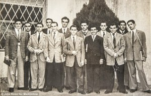 Oscar, fifth from left, and the future pope, fourth from right, in a high school picture together.