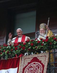 Pope Francis with Ecumenical Orthodox Patriarch Bartholomew I