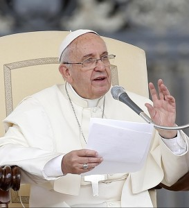 Pope Francis during his weekly Wednesday General Audience in St.Peter's Square, Vatican City, May 20, 2015. FABIO FRUSTACI