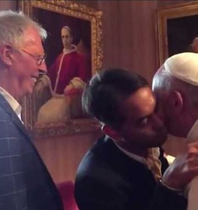 Yayo Grassi looking on as Francis is embraced by his same-sex partner