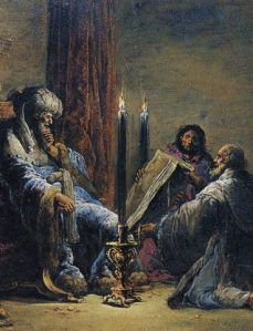 Leonaert Bramer -- King Josiah reads the Book of the Law found by Helcias the High Priest.