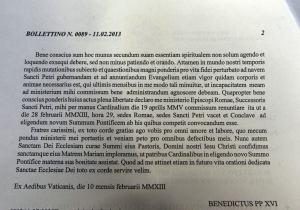 La dichiarazione di rinuncia di Benedetto XVI diffuso dalla Sala Stampa Vaticana.