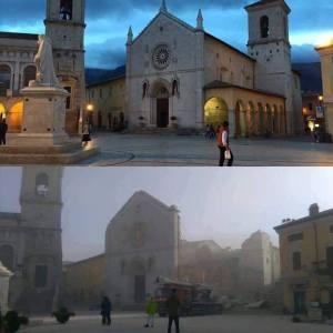 La Basilica di San Benedetto prima e dopo il terremoto.