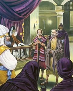"""San Pietro, il primo papa, e San Giovanni davanti al Sinedrio: """"Si obbedisce a Dio, non agli uomini""""."""