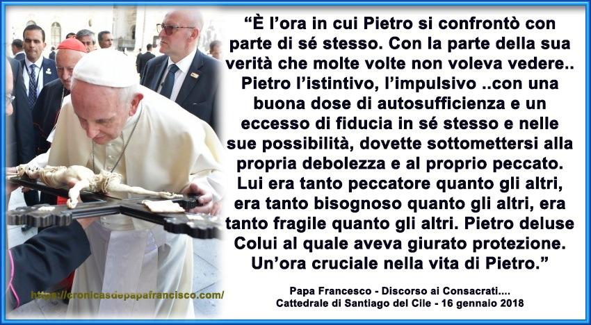 Papa Francesco medita sui tre momenti cruciali di Pietro nei Vangeli
