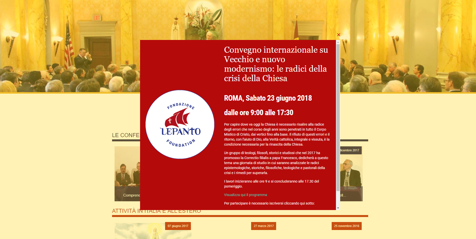 """Convegno """"Vecchio e nuovo Modernismo: radici della crisi nella Chiesa"""" (23 giugno)"""