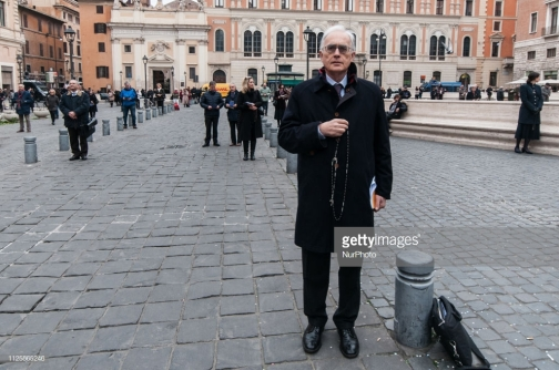 Roberto de Mattei during a demonstration in Piazza San Silvestro in central Rome to denounce what they call a 'wall of silence' regarding child sexual abuse within the Catholic Church around the world and against 'homosexuality in the Church', in Rome, Italy, on February 19, 2019. - On February 21, the Vatican will open a Summit on the protection of children and victims of sexual abuse in the church. on February 19, 2019 in Rome, Italy (Photo by Andrea Ronchini/NurPhoto via Getty Images)