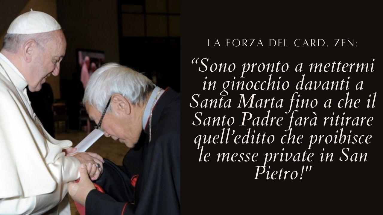 """Messe private proibite in San Pietro, il card. Zen: """"Sono pronto a mettermi in ginocchio davanti a Santa Marta fino a che il Santo Padre farà ritirare quell'editto"""""""